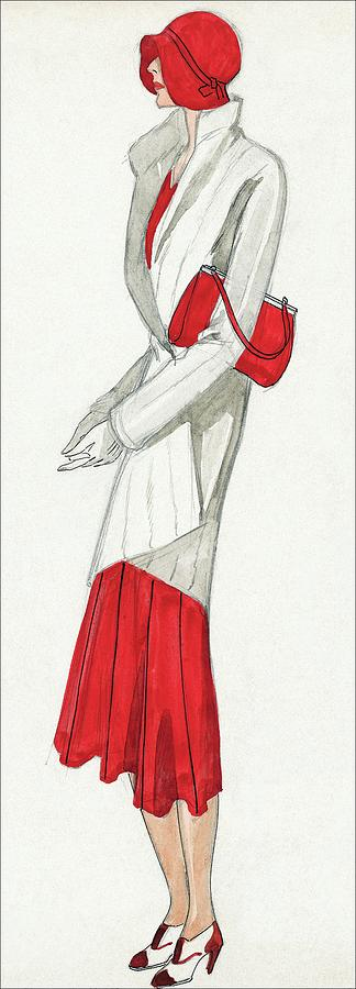 A Woman Wearing A Ermine Coat And Red Dress Digital Art by David
