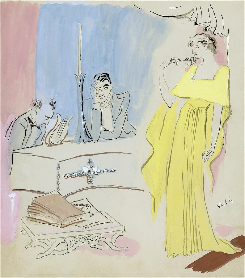 A Woman Wearing A Maggy Rouff Gown Facing Two Men Digital Art by Marcel Vertes