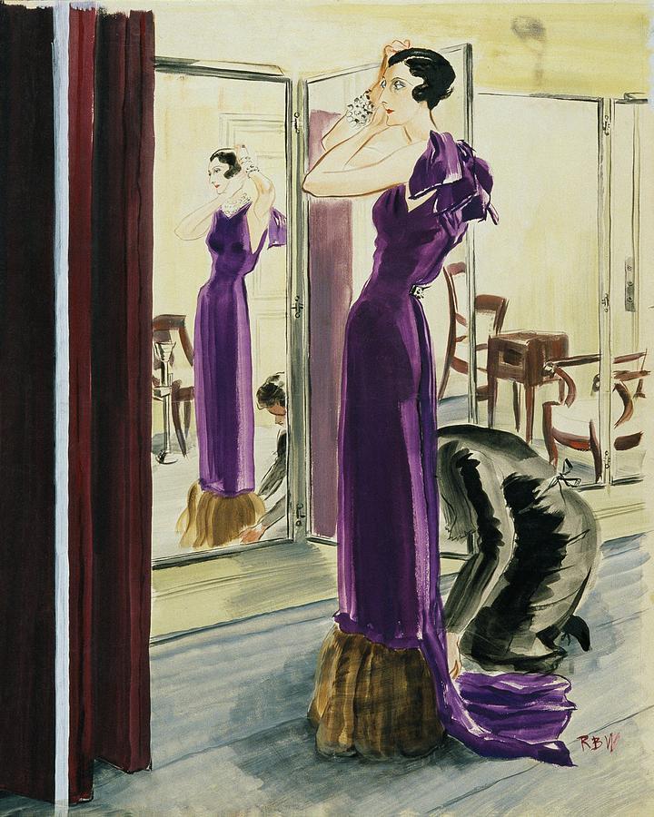 A Woman Wearing A Purple Augustabernard Evening Digital Art by Rene Bouet-Willaumez