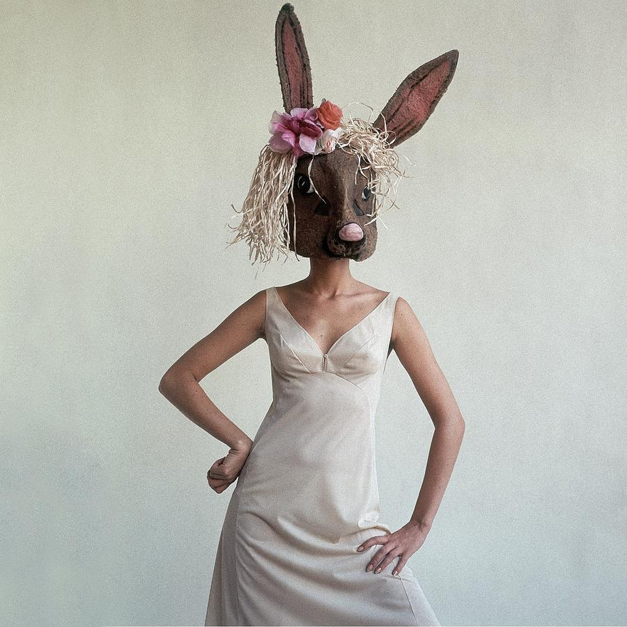 A Woman Wearing A Rabbit Mask Photograph by Gianni Penati