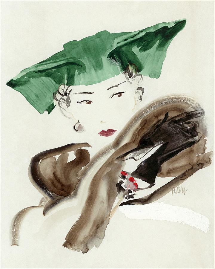 A Woman Wearing An Agnes Hat Digital Art by Rene Bouet-Willaumez