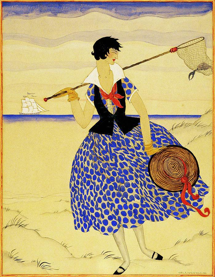 A Woman With A Crab Net Digital Art by Helen Dryden