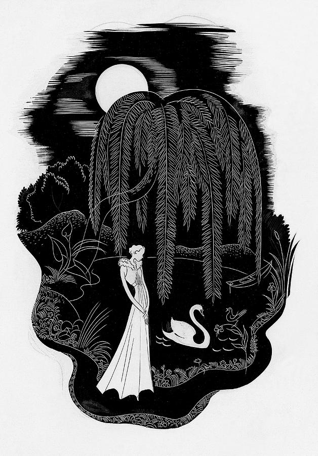 A Woman With A Swan Digital Art by Herbert Libiszewski