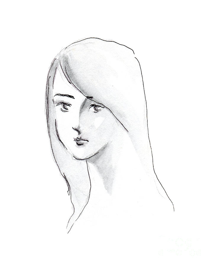 Figure Portrait Drawing - A Woman With Long Hair by Jingfen Hwu