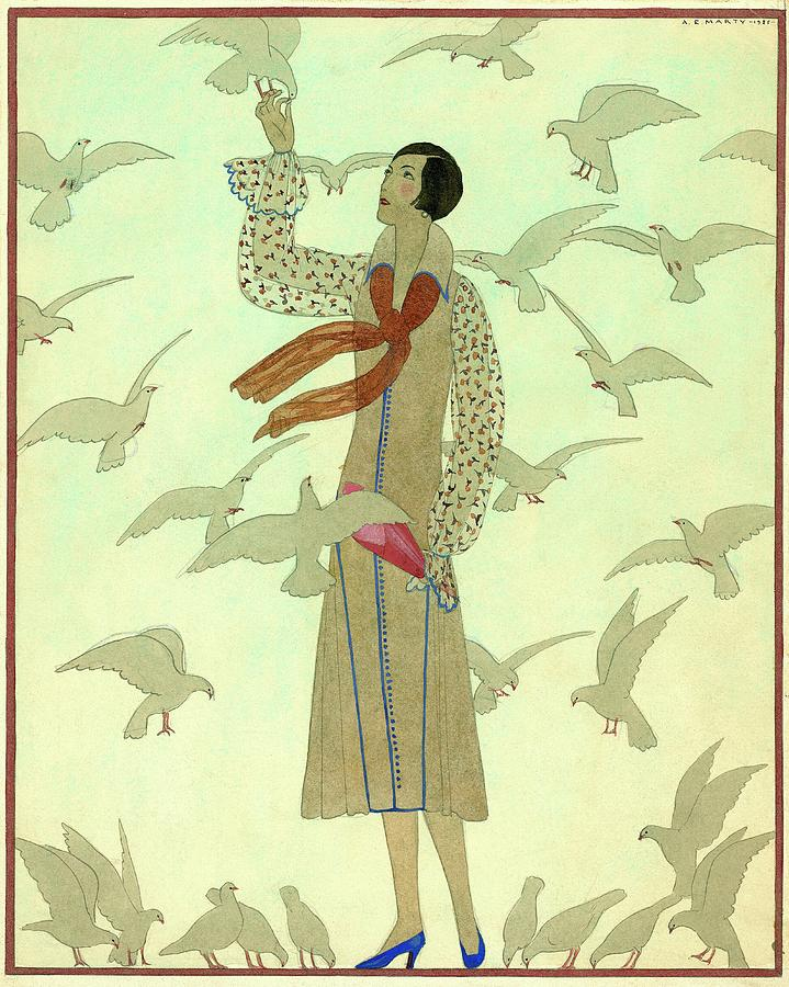 A Woman With Pigeons Digital Art by Andre E.  Marty