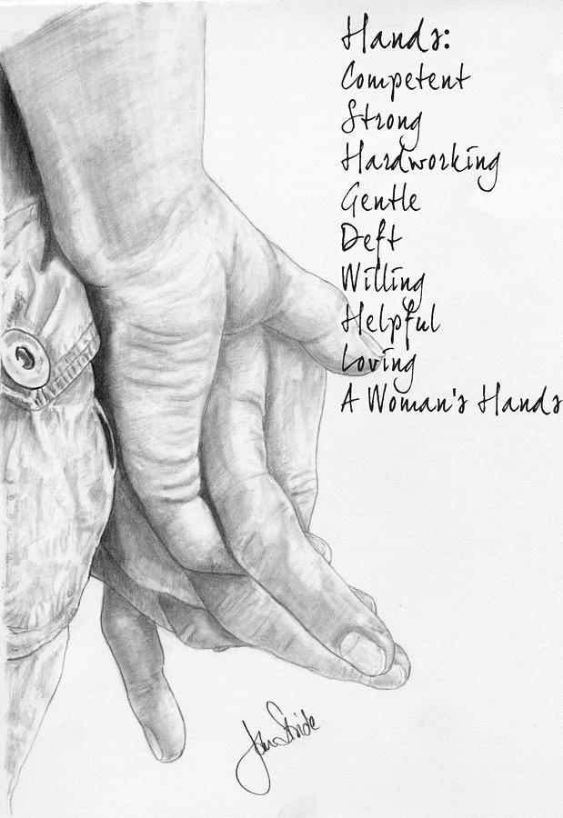 a woman s hands drawing by jan stride