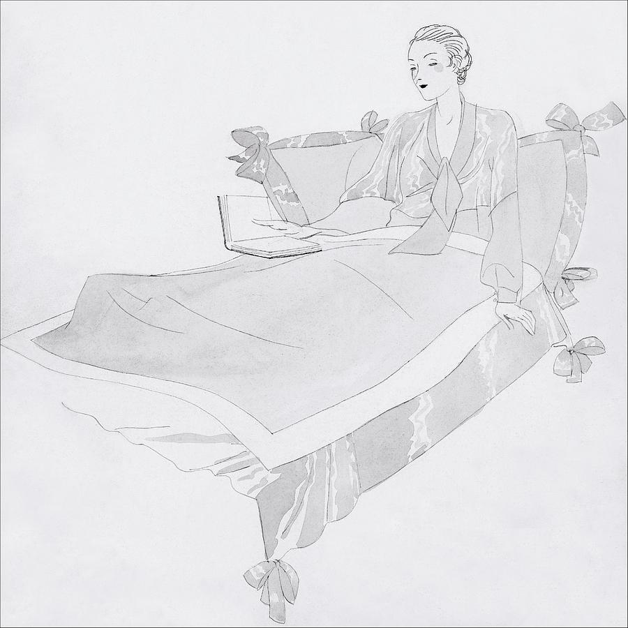 A Women Sitting In Bed With A Book Digital Art by Jean Pages