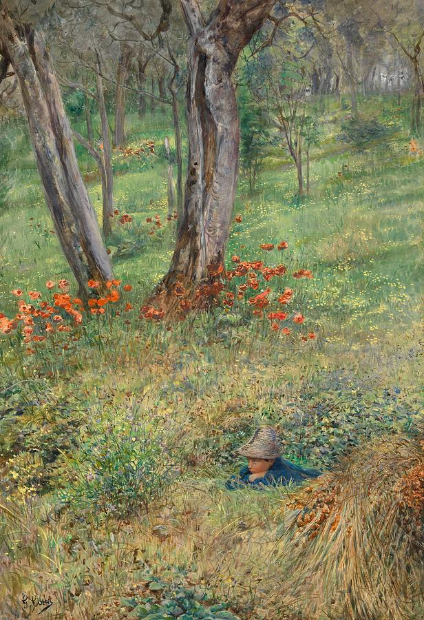 Woods; Wood; Woodland; Hideout; Male; Boy; Child; Hiding; Hidden; Wild; Rural; Flower; Flowers; Tree; Trees; Landscape Painting - A Woodland Hideout  by Giovanni Costa