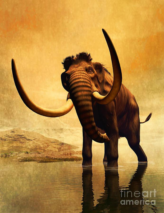 A Woolly Mammoth In A Dramatic Frozen Digital Art
