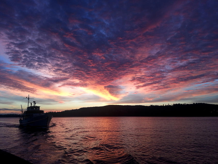Sunrise Photograph - A Wreck Under Tow by Christine Burdine