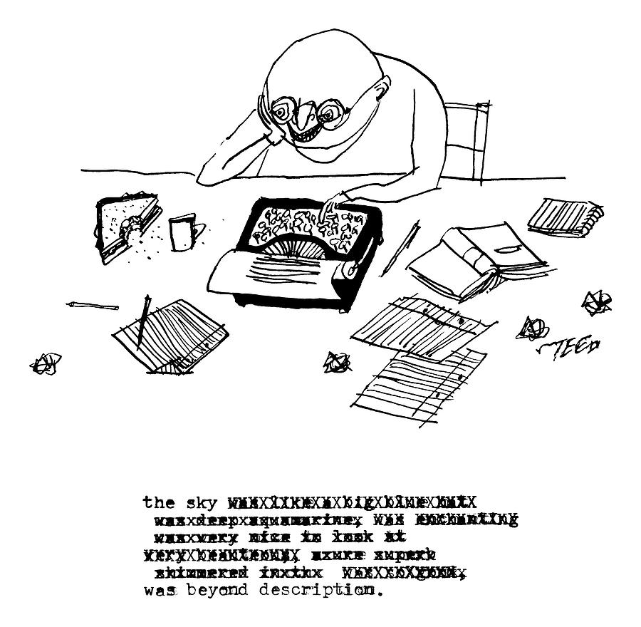 A Writer Relaxes Behind His Typewriter Drawing by Edward Steed