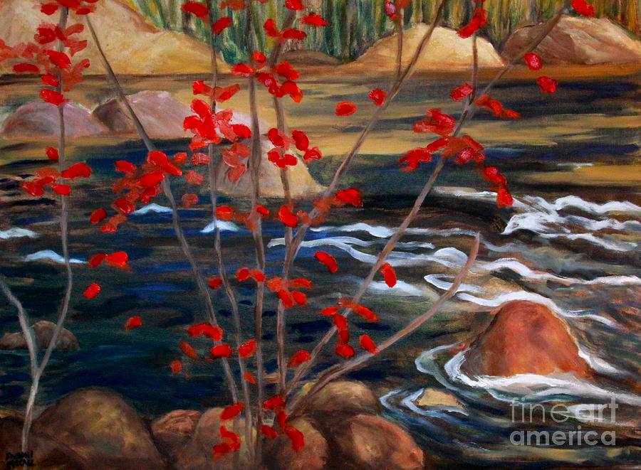 Landscape Paintings Painting - A Y Jackson The Red Maple Inspired by Sherrill McCall