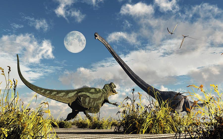 A Yangchuanosaurus Dinosaur Confronting Digital Art