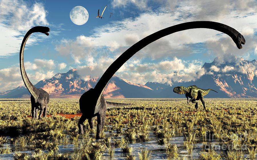 A Yangchuanosaurus Dinosaur Stalking An Digital Art