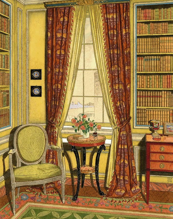 A Yellow Library With A Vase Of Flowers Digital Art by Harry Richardson