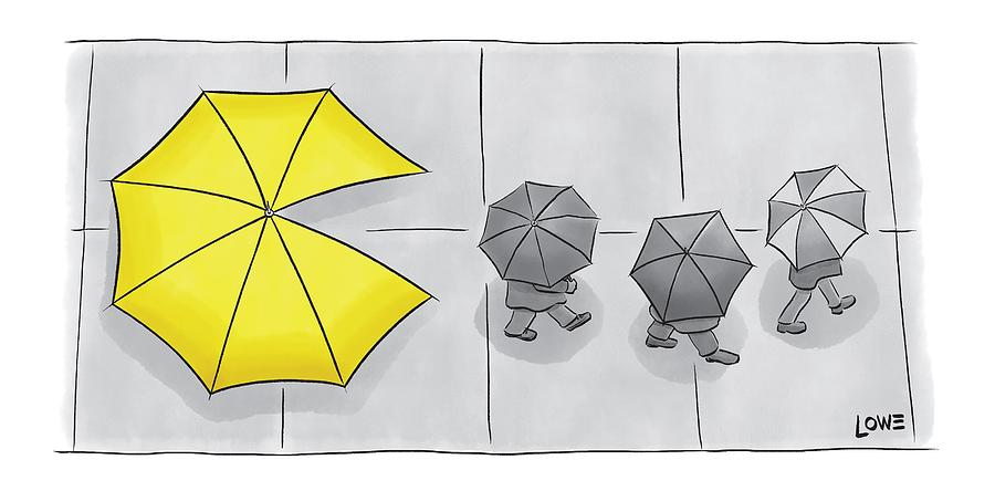 A Yellow Umbrella With A Pacman Mouth Drawing by Christian Lowe