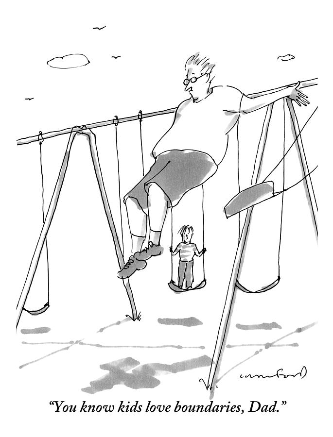 Fathers And Sons Drawing - A Young Boy On A Swingset To His Father by Michael Crawford