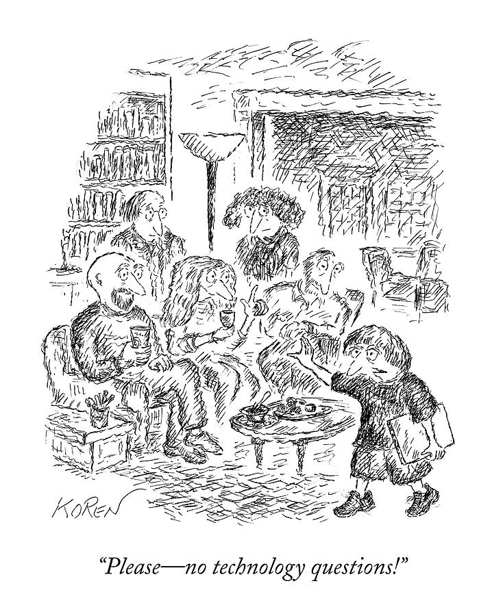 A Young Boy Walks Through A Room Of Adults Drawing by Edward Koren