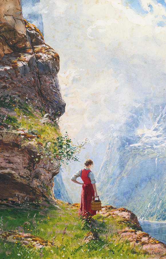 A Young Girl By A Fjord Painting By Hans Andreas Dahl