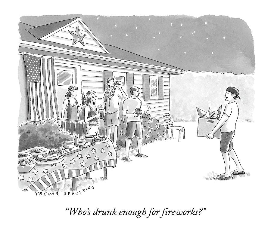 A Young  Man Carries A Box Of Fireworks Drawing by Trevor Spaulding