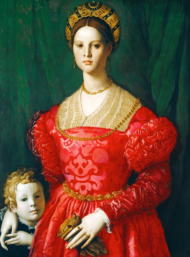 1540 Painting - A Young Woman And Her Little Boy by Agnolo Bronzino