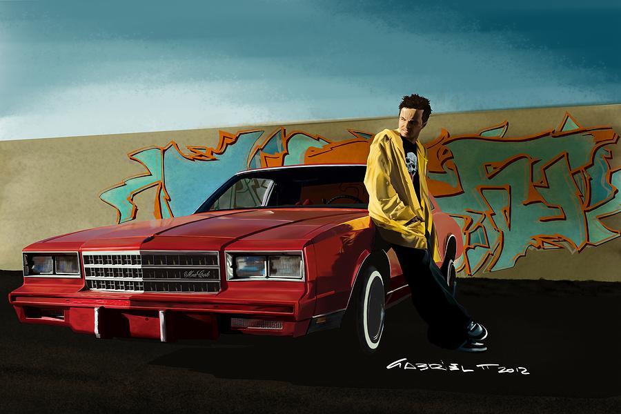 Aaron Paul Digital Art - Aaron Paul as Jesse Pinkman @ TV serie Breaking Bad by Gabriel T Toro
