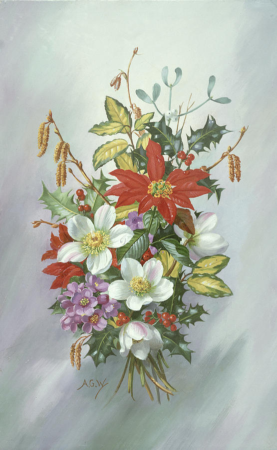 Christmas Painting - Christmas Bouquet by Albert Williams