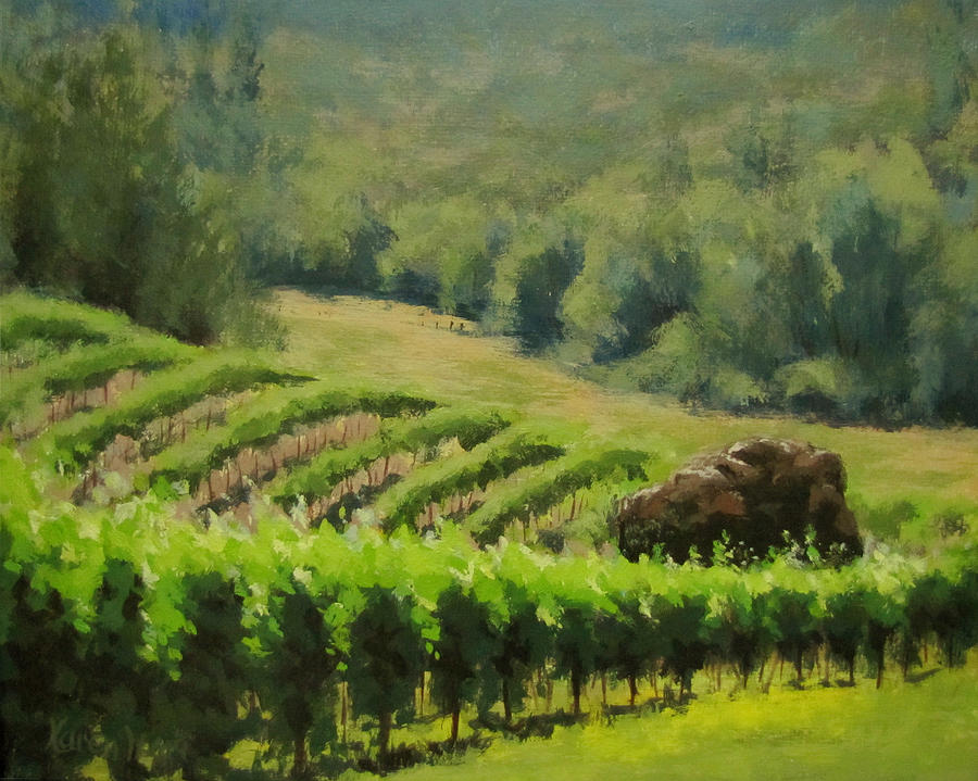 Winery Painting - Abacela Vineyard by Karen Ilari