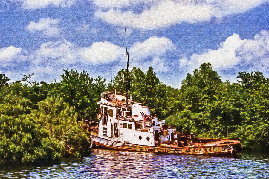 Boat Painting - Abandoned 2 by Barry Jones