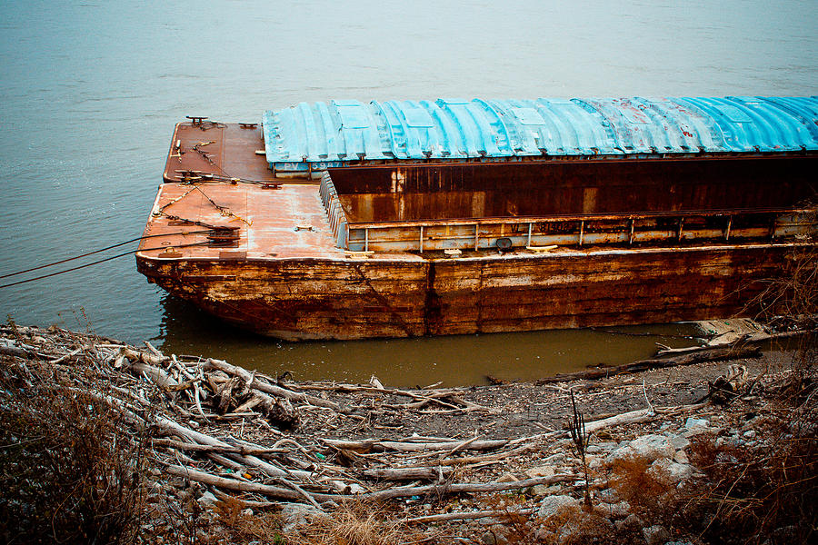Texture Photograph - Abandoned Barge by Kristy Creighton