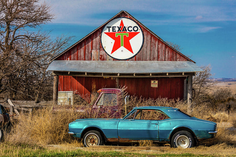 Horizontal Photograph - Abandoned Blue Camaro Chevrolete by Panoramic Images