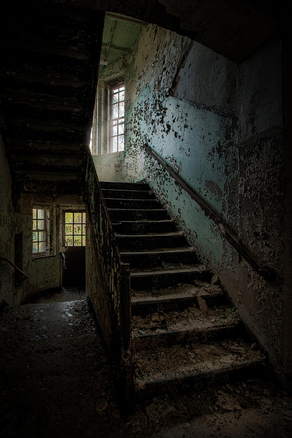 Abandoned Places Photograph - Abandoned Building - Haunting Images - Stairwell In Building 138 by Gary Heller