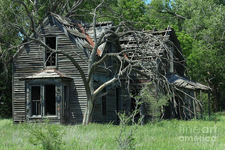 House Photograph - Abandoned Country Kansas Farm House by Robert D  Brozek