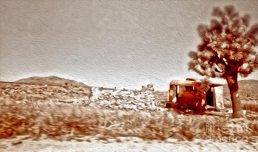 Desert Painting - Abandoned Desert Trailer by Gregory Dyer
