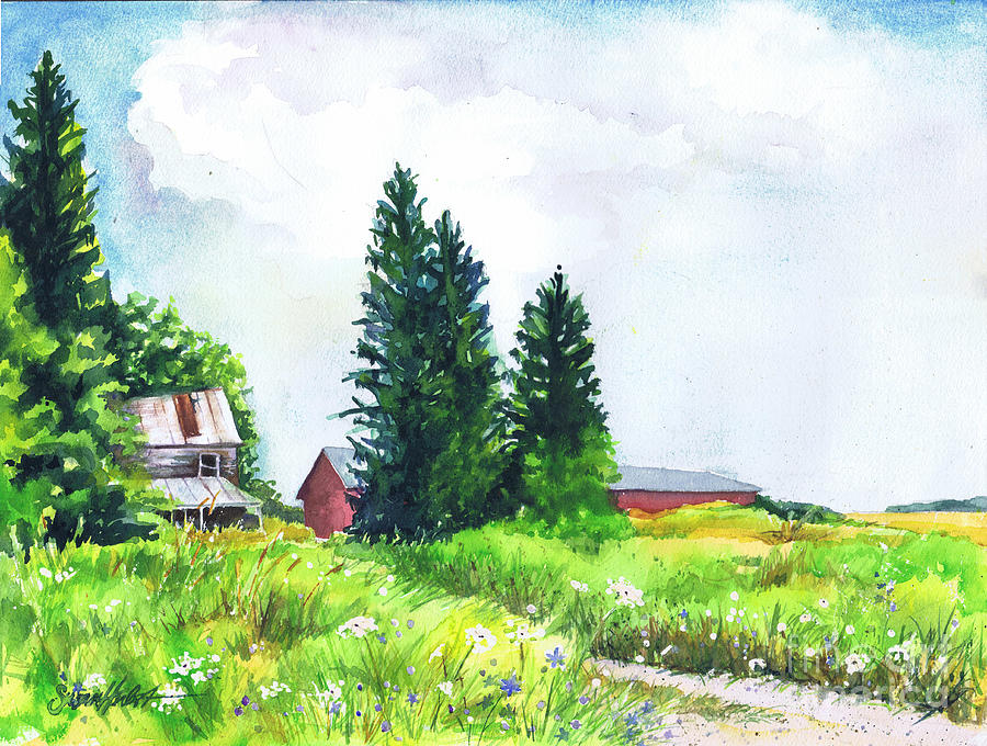 Landscape Painting - Abandoned Farmhouse by Susan Herbst