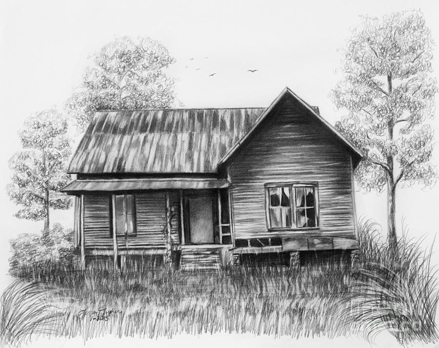 Abandoned House Drawing by Lena Auxier