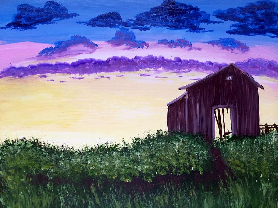 Landscape Painting - Abandoned In The Evening by Joy Gilley
