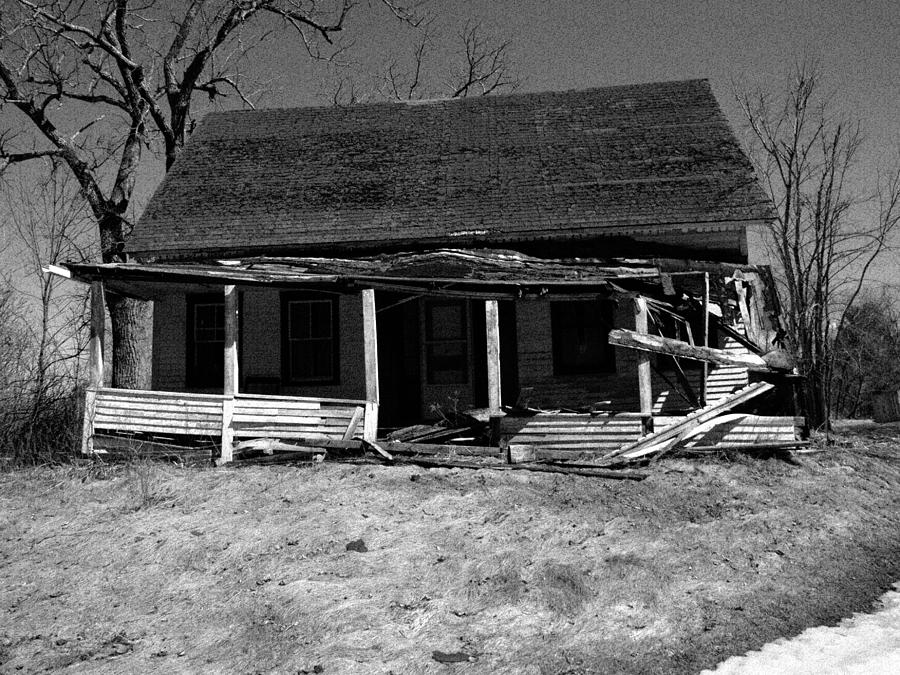 Maine Palermo Farmhouse Abandoned Country Life Back Woods Grass Wood Frame Roof Crumble Rot Tree Sky Field Porch Let Go Black And White Branches Windows Landscape Framework  Photograph - Abandoned  by Melanie Leo