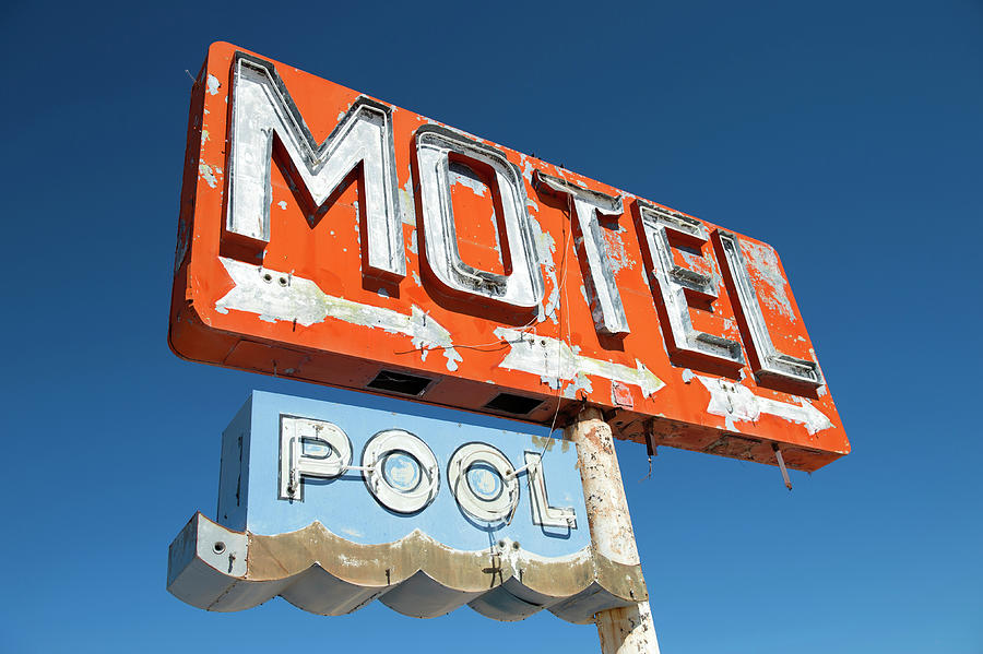 Tranquility Photograph - Abandoned Motel Sign At Yucca, Mohave by Feifei Cui-paoluzzo