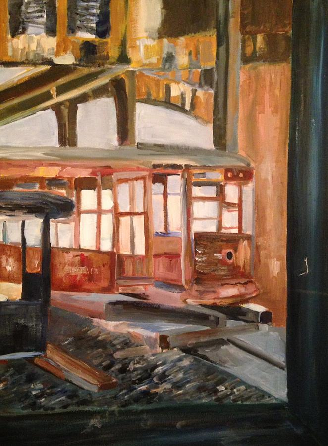 Train Painting - Abandoned Streetcar In Savannah by Christina Campo-Abdoun
