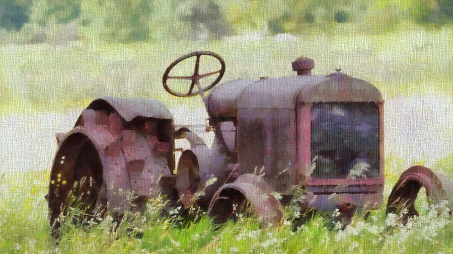 Tractor Painting - Abandoned Tractor On The Farm by Dan Sproul