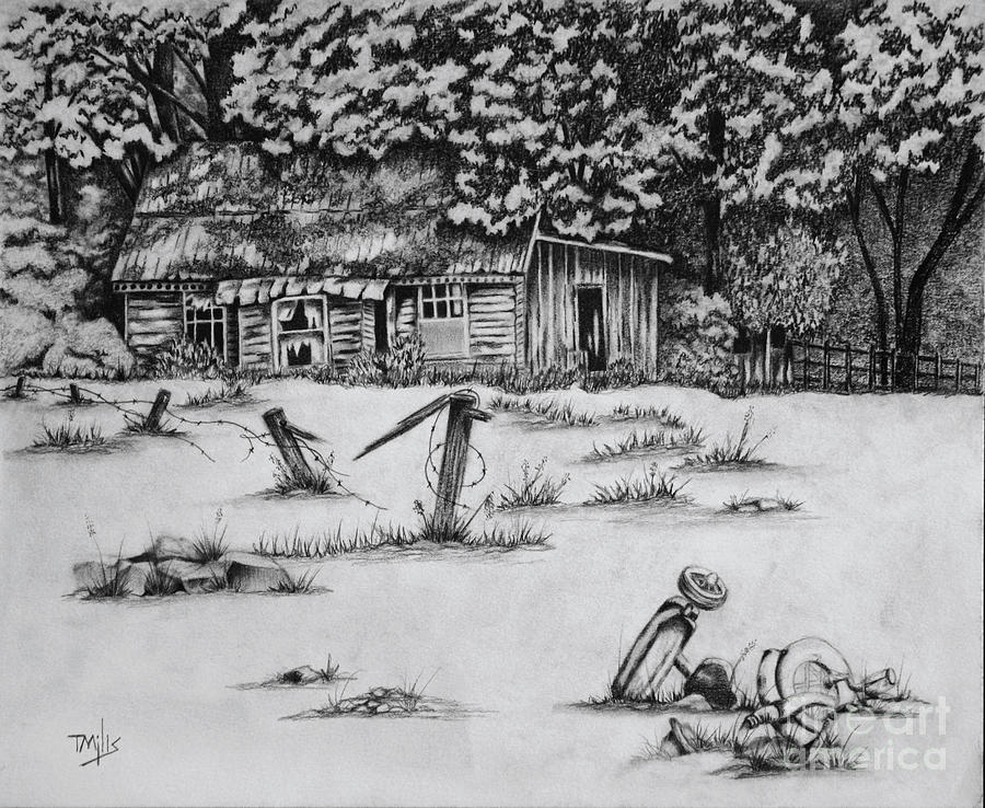 Graphite Drawing - Abandonment by Terri Mills