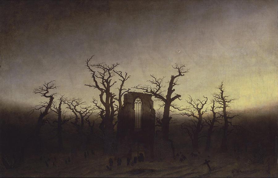 Painting Painting - Abbey Among Oak Trees by Caspar David Friedrich