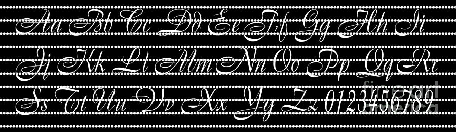 Alphabet Digital Art - Abc 123 Black by Andee Design