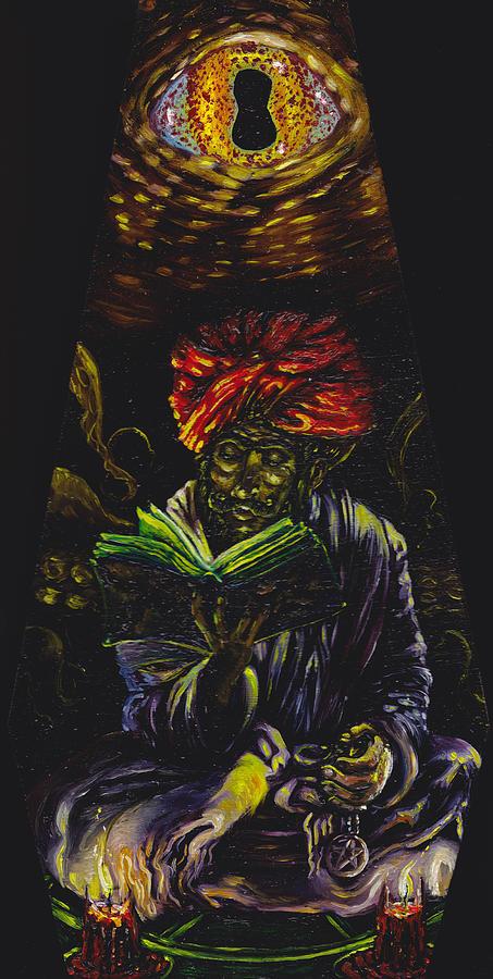 Necronomicon Painting - Abdul Alhazred With Necronomicon by Mani Price