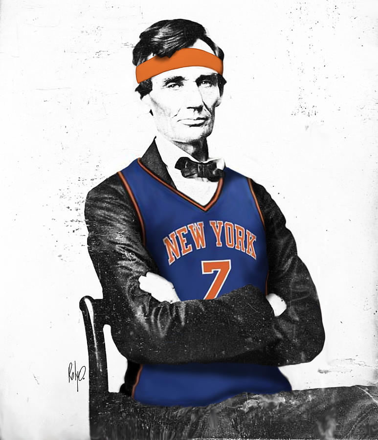 New York Drawings Digital Art - Abe Lincoln In A Carmelo Anthony New York Knicks Jersey by Roly Orihuela