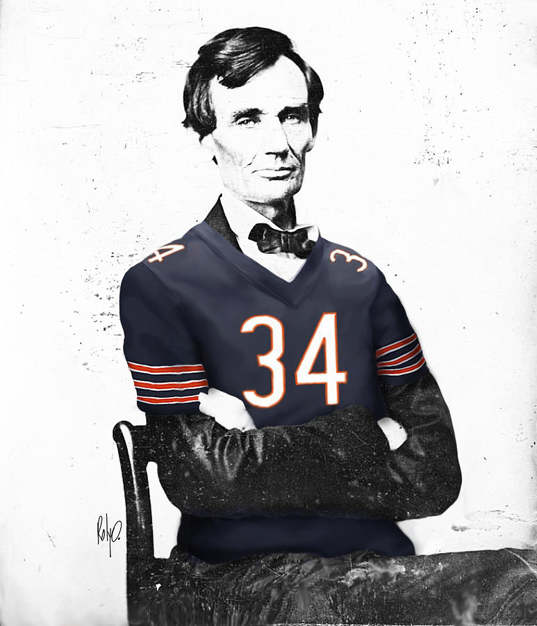 Abe Lincoln Digital Art - Abe Lincoln In A Walter Payton Chicago Bears Jersey by Roly Orihuela