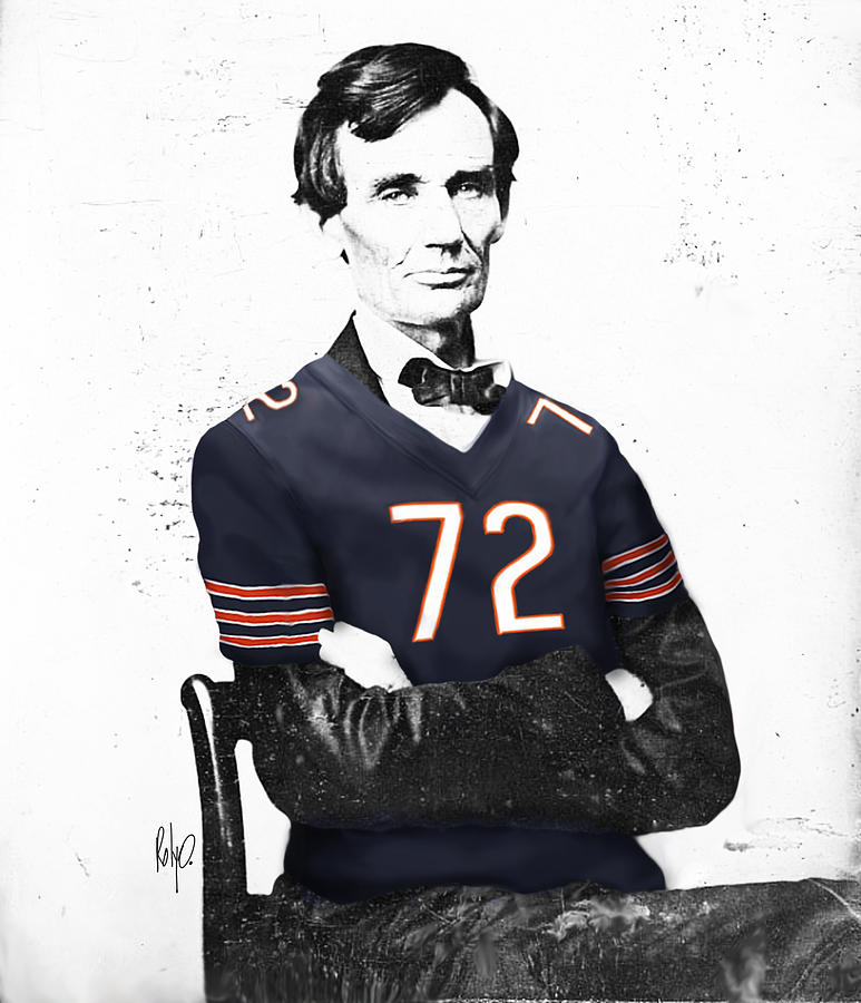 Football Drawings Digital Art - Abe Lincoln In A William Perry Chicago Bears Jersey by Roly Orihuela
