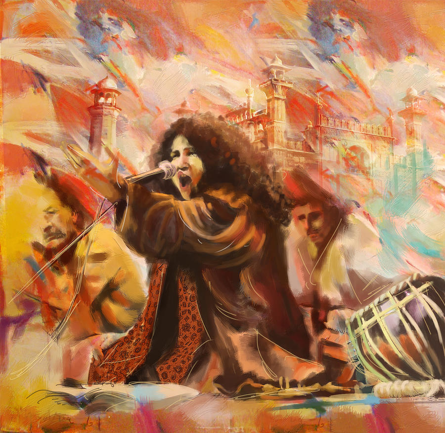 Zakir Painting - Abida Parveen by Catf