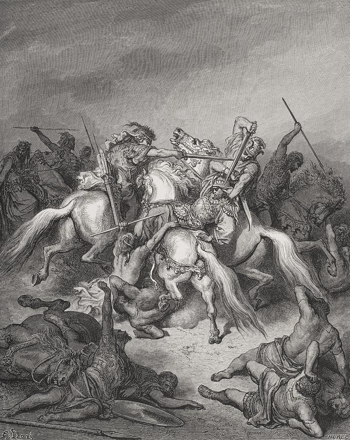 Mounted Painting - Abishai Saves The Life Of David by Gustave Dore